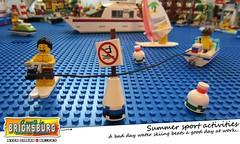 Summer Sport Activities (EVWEB) Tags: lego water ski skiing surk boat humor fan fun minifigures bricksburg sea wave comics cartoon boa sign danger