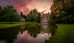 Sunset castle Zypendaal (Mario Visser) Tags: castle old arnhem netherlands sunset red sky clouds water reflection park nikon mariovisser sigma