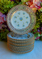 Vintage Dresden Porcelain Plates ~ Blue Flowers Gold Reticulated (Donna's Collectables) Tags: vintage dresden porcelain plates ~ blue flowers gold reticulated