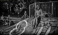 the girl in the skate park (Daz Smith) Tags: dazsmith canon6d bw blackwhite blackandwhite bath city streetphotography people candid canon portrait citylife thecity urban streets uk monochrome blancoynegro sat sitting youngwoman girl smoking cigarette graffiti
