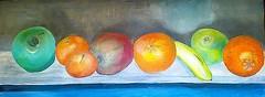 fruit enamel jasc (jaimsart) Tags: original art oil painting canvas jaims saatchi instagram artslant fruit still life bright colours shelf orange naartjie green apple red banana lemon