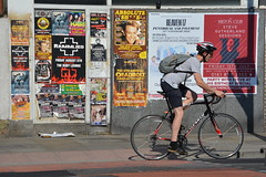 Urban Cyclist, Oxford Road, All Saint's, Manchester, England. (westport 1946) Tags: england unitedkingdom manchester manchesterstreets streetphotography streetview oxfordroad posters streetposters clubposters groupposters sidewalk pavement outdoor man male malecyclist cycle cykler bike bicicletas bicycle biciclette bicicletta racingcycle backpack heaven17 therubylounge themiltonclub helmet allsaints nikon nikon5200
