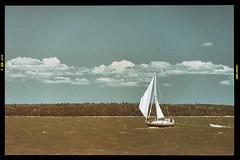 Sailboat (Plonq) Tags: boat island lake water trees sky clouds sail sails lakewinnipeg manitoba canada