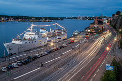 Stockholm (mikper) Tags: lights longexposure sverige katarinavgen bluehour urban street city seascape cars stockholm ship evening fotografiska stadsgrdskajen schweden sweden stockholmsln se