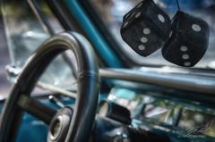 Snake Eyes (Linda O'Donnell) Tags: rollingironcarshow allairestatepark fuzzydice steeringwheel