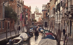 early birds (cherryspicks (intermittently on/off)) Tags: venice italy gondola canal water street people morning architecture buildings city urban earlybirds