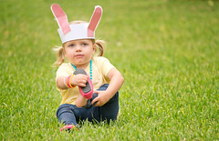 Amelia, Easter Bunny (donnierayjones) Tags: pink bunny girl hat yellow easter necklace kid toddler shoes child ears jeans bracelet