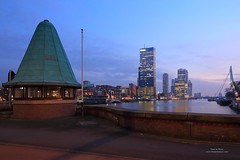 Rotterdam (Peet de Rouw) Tags: city bridge urban holland skyline evening rotterdam dusk bluehour koninginnebrug koningshaven denachtdienst peetderouw