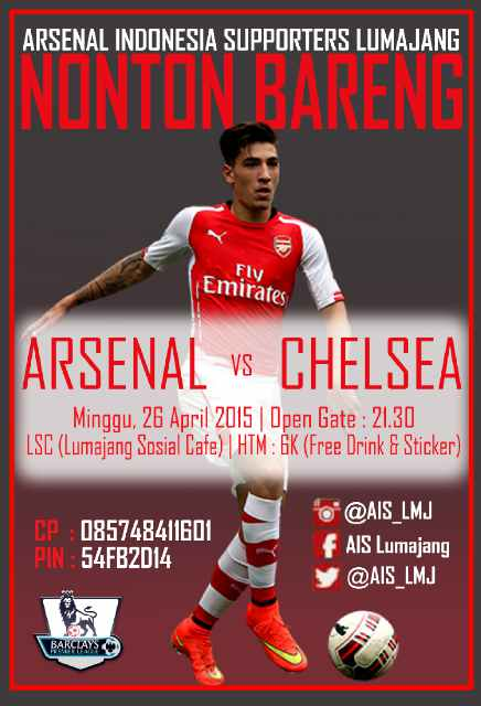 AIS LUMAJANG #AIS @AIS_LMJ: #MatchScreeningAISLMJ BIG MATCH SUPER SUNDAY !! ARSENAL VS Chelsea @LSCcafe I OG:21.30WIB I HTM:6K Be there Lads!! sozhuhDubjN