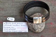 jff-2711.jpg (Just for Fun Beadwork - justforfun@kebbek.us) Tags: bracelet justforfun jff 2015 blackandbrown greekleather magneticclasp stitchedleather silverplatedrhodium