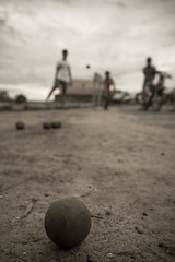 Ptanque. Boules. Cambodian national pastime. (freebird) Tags: game rural countryside cambodia khmer dof village bokeh wideangle pastime kampuchea kampongchhnang