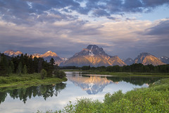First Morning Light on Mt Moran (Xiang&Jie) Tags: cloud lake reflection tree green sunrise landscape cloudy alpine grandteton grandtetonnationalpark