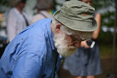 Red Star at the Protest (Geoffrey Coelho Photography) Tags: old people white man hat beard rally crowd protest elderly redstar whitebeard