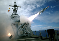 USS Coronado launches the first over-the-horizon missile engagement using a Harpoon Block 1C missile.