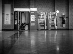 Photo booth (fishyfish_arcade) Tags: 20mmf17 gx7 lumix panasonic panasonic20mmf17asphlumixg photobooth blackwhite blackandwhite bw monochrome mono candid people vendingmachine payphone shoppingmall
