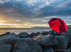 Enjoy the moment of life (Gudlaug Photography) Tags: nature clouds sunset evening red umbrella