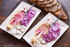 Heirloom Radishes with whipped Miso Butter and Rye Bread (lyudavitaya) Tags: butter miso radish