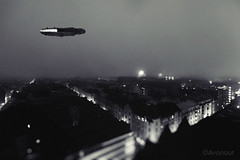 Millennium Falcon Nightflight (Avanaut) Tags: blackandwhite monochrome fog toy miniature starwars helsinki citylights spaceship originality scalemodel millenniumfalcon toyphotography