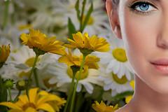 One Eye Jane (swong95765) Tags: flowers woman eye beauty face female pretty mysterious daisy