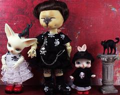 Goth girls (bentwhisker) Tags: dolls bjd resin dollfactory petari popo dollzone burton tomcat tokissi tokicreamwhite fox fennec cat kitty feline siamese rabbit bunny anthro goth crow raven 0681