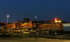 Panhandle, TX wreck units (Jeff Carlson_82) Tags: bnsf burlingtonnorthernsantafe ge gevo wreck 7907 8191 es44dc es44c4 depressedcenterflat flatcar ttx qttx nightphotography bluehour wrecked panhandle tx topeka yard l71 train railfan railroad railway