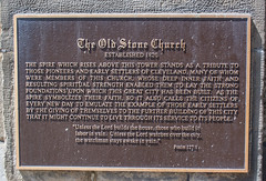 spire plaque 02 - Old Stone Church - Cleveland Ohio (Tim Evanson) Tags: oldstonechurch church presbyterianchurch nationalregisterofhistoricplaces clevelandlandmark clevelandohio publicsquare romanesquerevivalarchitecture architecture