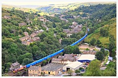 66090 (elr37418) Tags: 66090 knowsley wilton todmorden gauxholme valley viaduct terminal ews dbs blue containers