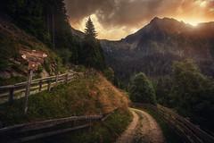 up or down? (Chrisnaton) Tags: southtyrol mountains hiking hikingtrail signpost eveningmood eveningcolors eveningsky sunset sundown streitweide alm taser videgg taserhöhenweg