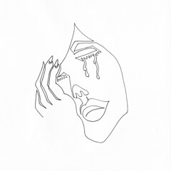 a single line drawing of a female crying into her hand (Chad Coombs) Tags: tattoo paper this boobs you chad drawing flash line your single there after itt coombs oneliner oneline innk unsceneart asingleline