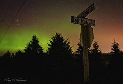 Deer Run Drive (anakin1814) Tags: sky night stars lights darkness streetsign greenbay northern northernlights auroraborealis lightpollution