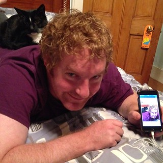 Taking pictures of Badger cats resting habits is far too funny! He loves being with dad! #badger #feline #cat #black #white #splock #ginger #gayuk #gayginger #bed #iphone #selfie #aberdeen #bed