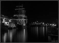 Sydney Lady (Lyndon (NZ)) Tags: longexposure monochrome night blackwhite lowlight fuji harbour sydney gimp australia wharf nsw 2015 xs1 fujifilmxs1
