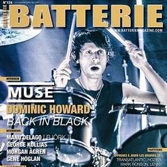 This is a nice surprise! The upcoming issue of @batteriemagazine features @domhoward77 on the cover. Great shot of Dom and his drum set! #qdrumco #muse #batteriemagazine