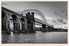 The Bridges (foggyray90) Tags: road sandstone crossing suspension steel westbank bridges railway viaduct mersey runcornbridge britanniabridge antiqueframed mitredframe ethefredabridge