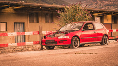 BROKEN (Jeton Bajrami) Tags: honda civic broken accident unfair lightroom red car older switzerland sion gare suisse valais wallis sony a77mkii ilca77mkii alpha77ii alpha perfect art 2016