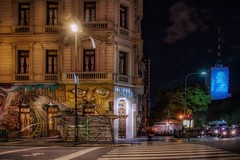 A corner (karinavera) Tags: street city longexposure travel urban argentina night lights buenosaires traffic flag avenidademayo nikond5300
