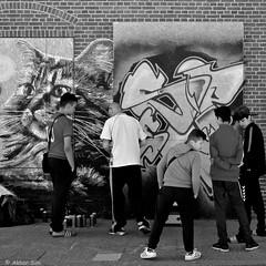 The artist and his admirers (Akbar Simonse) Tags: people urban bw streetart man holland blancoynegro boys netherlands monochrome square graffiti zwartwit candid nederland streetphotography denhaag bn graffitiartist thehague stad spel vierkant agga straatfotografie dscn2796 akbarsimonse