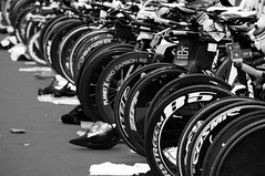 transition area (tamasmatusik) Tags: triathlon triatlon bw blackandwhite noiretblanc transition bicycle timetrial kerkpr keszthely sonynex sony nex3n 210mm monochrome zipp planetx carbon wheel bike ironman feketefehr