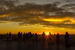 Watching the sunrise (NettyA) Tags: 2016 australia brisbane mtcoottha mtcootthalookout qld queensland sonya7r clouds seqld sunrise sun people golden peopleandpaths lookout platform