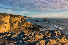 "View fr. the former ""Arch Rock"", Bear Valley, Point Reyes National Seashore, Marin County, California (Timothy Hastings) Tags: ocean seascape wavws sand beach sunset blu sky water waves cliffs rock saltwater dusk northern california point reyes national seashore marin"