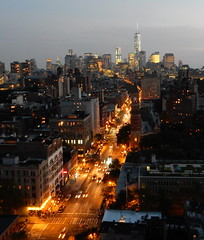 View south from the roof (TheMachineStops) Tags: nyc manhattan freedomtower skyscraper night skyline city architecture lights outdoor building dusk newyorkcity 2014