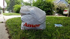 Ames bag on the side of the road (SchuminWeb) Tags: schuminweb ben schumin web june 2016 maryland md montgomery county aspenhill aspen hill ames shopping bag plastic bags trash road roadside grass lawn lawns house department store discount vintage red white rockville