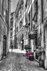 Table for Two (beelzebub2011) Tags: italy rome streets bw monochrome selectivecoloring