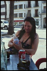 Spain 2016 - Kodak Retina Ib (Type 018 Chrome Dot) - Lisa at the 'Top Ten Tapes' Bar, Benissa (Gareth Wonfor (TempusVolat)) Tags: holiday spainholiday spain 2016 vacance summer gareth wonfor tempus volat mrmorodo tempusvolat garethwonfor kodak retina ib vintagecamera film 35mm scan scanned scanning scanner epson perfection v200 wife lisa girl woman holidaysnaps negative beauty beautiful brunette beautifulwife beautifulwoman prettywife attractive pretty lovelywife mywife mygirl gorgeouswife lovelylisa prettylisa goodlooking goodlooks spouse lover lovely love allure elegant cleavage mole tummy belly boobs voluptuous boob breast breasts demure shapely curvy curvaceous curvygirl curvybrunette boobtube tube tubetop leesa leesamattress