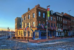 First Light, The Admirals Cup, Fells Point, Baltimore (PhotosToArtByMike) Tags: fellspoint baltimore maryland md thamesstreet admiralscup cobblestonestreet tavern fellspointnationalhistoricdistrict historicwaterfront waterfrontcommunity storefronts 18thand19thcenturyhomes baltimoreharbor maritime