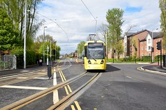 Moor Road. Manchester Metrolink. (Fred Collins afloat and ashore) Tags: airport bombardier lightrail line lrv m5000 manchester metrolink moor road tram tramway