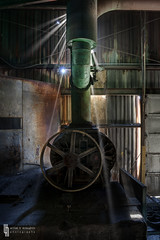 Death Beams (billmclaugh) Tags: ohio brick abandoned industry photoshop canon rebel rust industrial factory explore smokestack urbanexploration castiron tamron wagner demolished sidney hdr highdynamicrange cookware skillet lightroom urbex photomatix xti 1750mm wagnerware wagnermanufacturingcompany