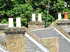 FIVE WHITE & ONE ORANGE (conespider) Tags: uk england white nikon rooftops oranges berkshire 2015 chimnes