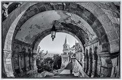 Fisherman's Bastion (lncgriffin) Tags: budapest hungary magyarorszg europe europa fishermansbastion monochrome monument middleages castlehill buda architecture neogothic neoromanesque fisheye blackandwhite travel nikon d610 nikkor 16mmf28dfisheye