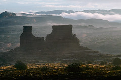 Butte in morning light (Thankful!) Tags: morning mist clouds landscape arches archesnationalpark warmlight longlight